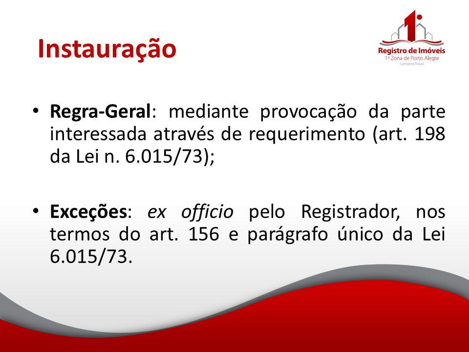 Instauração Regra-Geral: mediante provocação da parte interessada através de requerimento (art. 198 da Lei n. 6.015/73); Exceções: ex officio pelo Reg