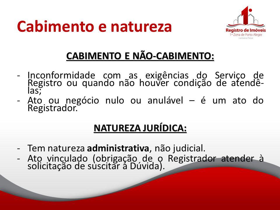 Cabimento e natureza CABIMENTO E NÃO-CABIMENTO: -Inconformidade com as exigências do Serviço de Registro ou quando não houver condição de atendê- las;