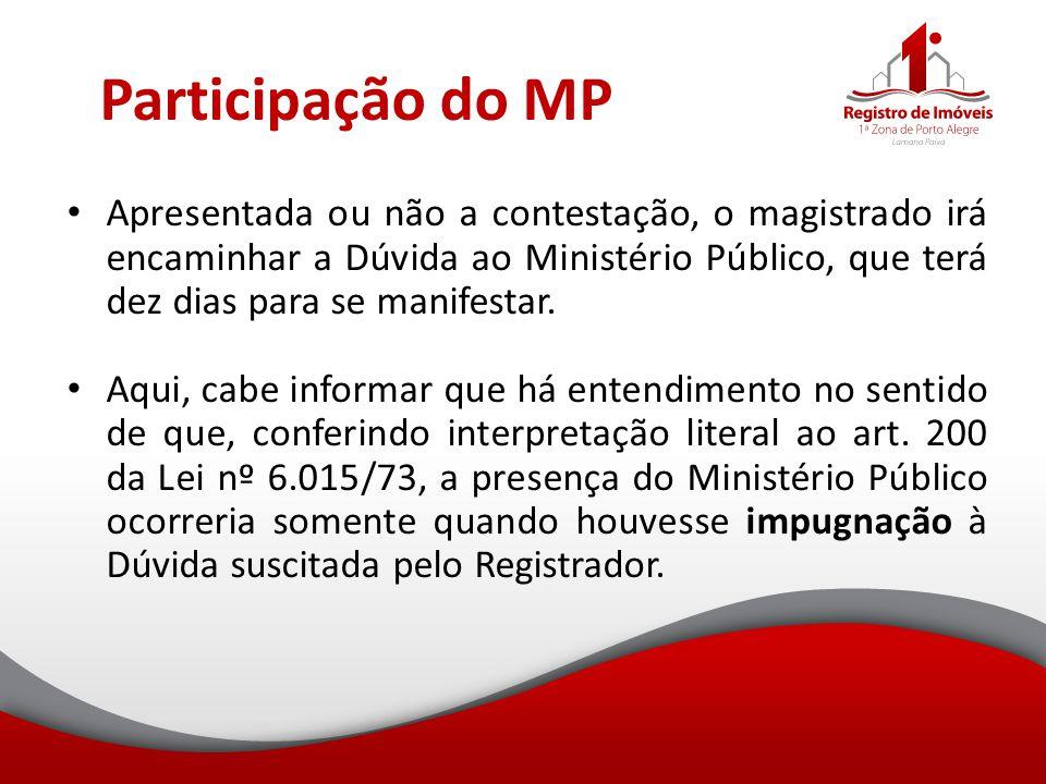 Participação do MP Apresentada ou não a contestação, o magistrado irá encaminhar a Dúvida ao Ministério Público, que terá dez dias para se manifestar.
