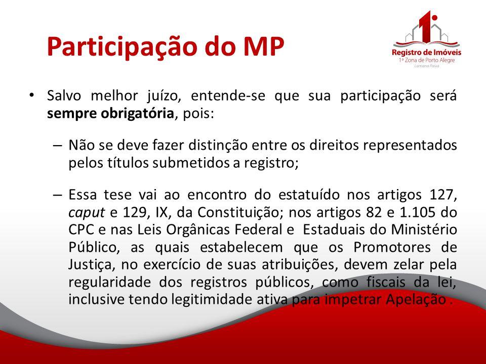 Participação do MP Salvo melhor juízo, entende-se que sua participação será sempre obrigatória, pois: – Não se deve fazer distinção entre os direitos