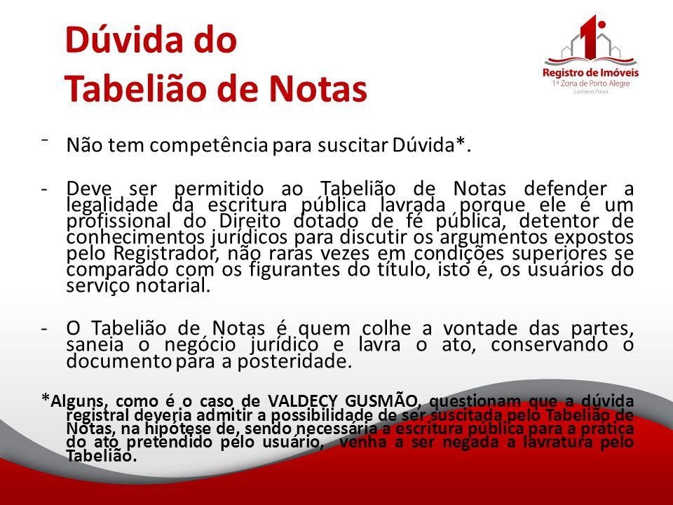 Dúvida do Tabelião de Notas ⁻Não tem competência para suscitar Dúvida*. -Deve ser permitido ao Tabelião de Notas defender a legalidade da escritura pú