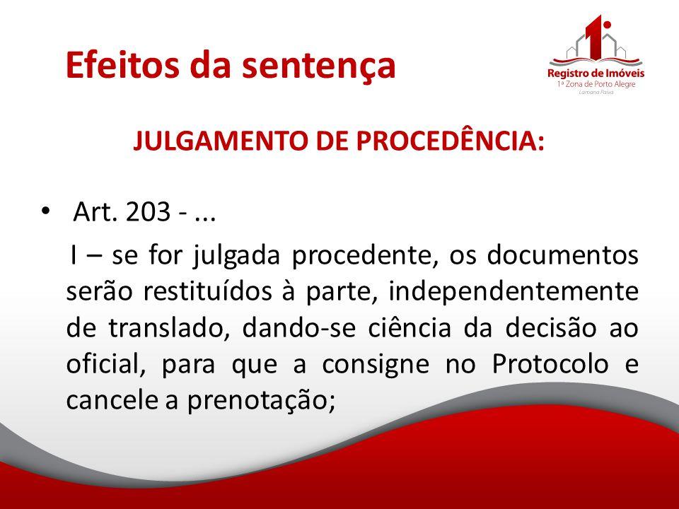 Efeitos da sentença JULGAMENTO DE PROCEDÊNCIA: Art. 203 -... I – se for julgada procedente, os documentos serão restituídos à parte, independentemente