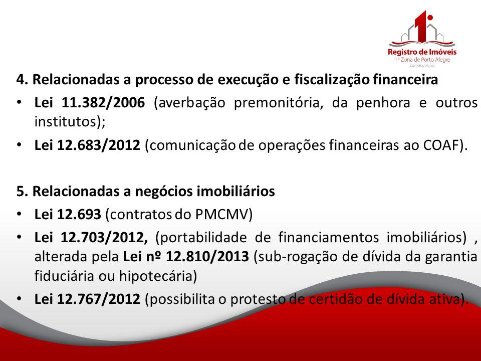 4. Relacionadas a processo de execução e fiscalização financeira Lei 11.382/2006 (averbação premonitória, da penhora e outros institutos); Lei 12.683/