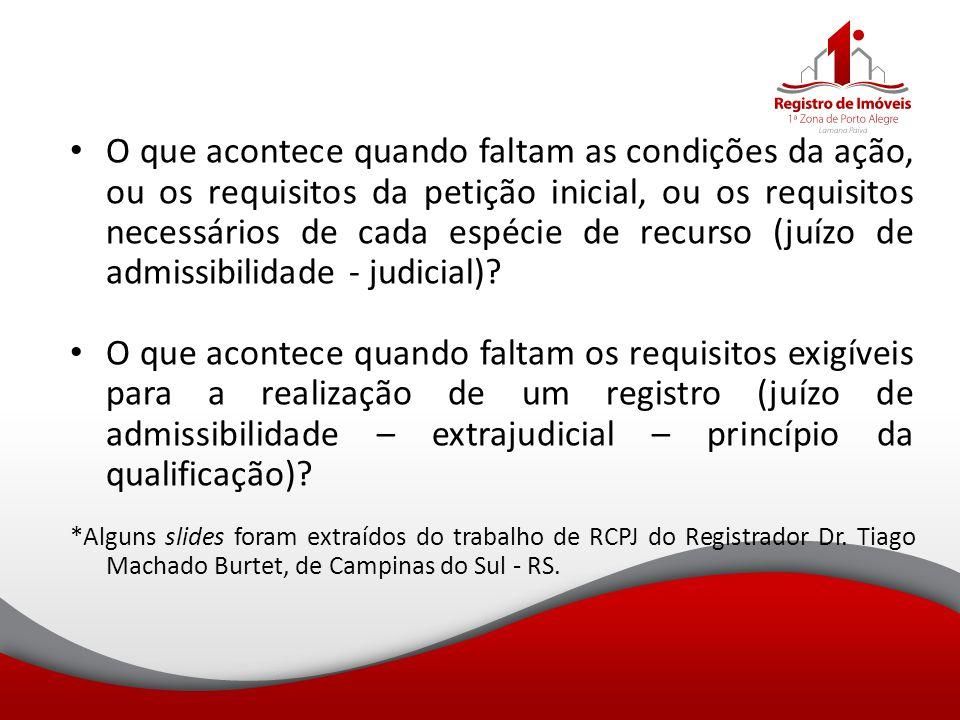 O que acontece quando faltam as condições da ação, ou os requisitos da petição inicial, ou os requisitos necessários de cada espécie de recurso (juízo