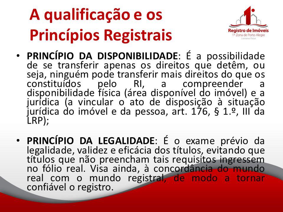 A qualificação e os Princípios Registrais PRINCÍPIO DA DISPONIBILIDADE: É a possibilidade de se transferir apenas os direitos que detêm, ou seja, ning
