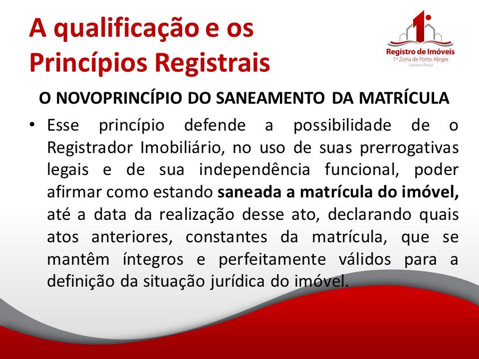 A qualificação e os Princípios Registrais O NOVOPRINCÍPIO DO SANEAMENTO DA MATRÍCULA Esse princípio defende a possibilidade de o Registrador Imobiliár