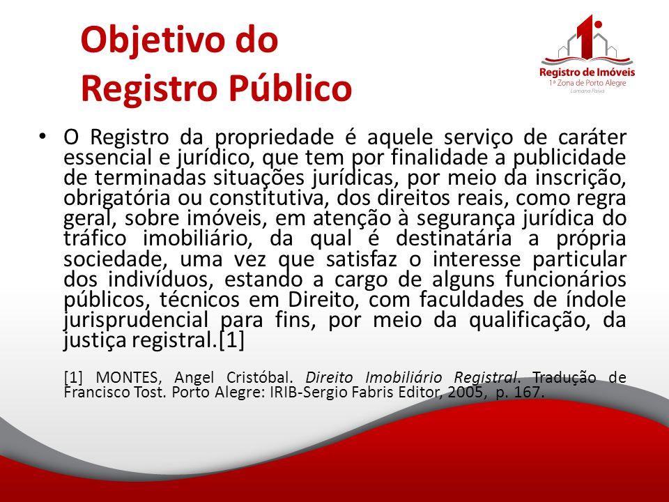 Objetivo do Registro Público O Registro da propriedade é aquele serviço de caráter essencial e jurídico, que tem por finalidade a publicidade de termi