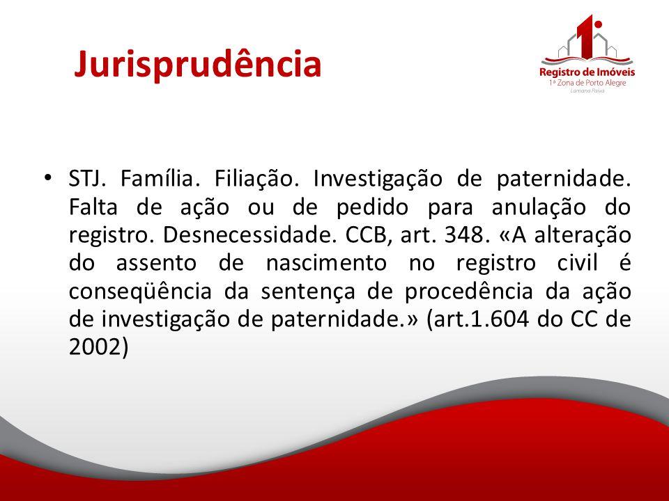 Jurisprudência STJ. Família. Filiação. Investigação de paternidade. Falta de ação ou de pedido para anulação do registro. Desnecessidade. CCB, art. 34