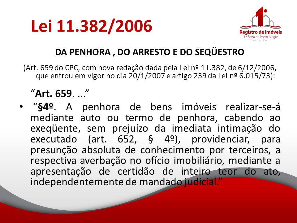 Lei 11.382/2006 DA PENHORA, DO ARRESTO E DO SEQÜESTRO (Art. 659 do CPC, com nova redação dada pela Lei nº 11.382, de 6/12/2006, que entrou em vigor no