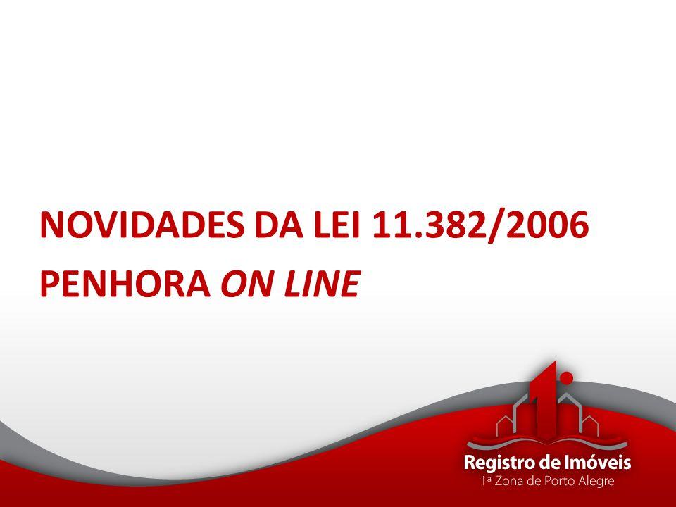 NOVIDADES DA LEI 11.382/2006 PENHORA ON LINE