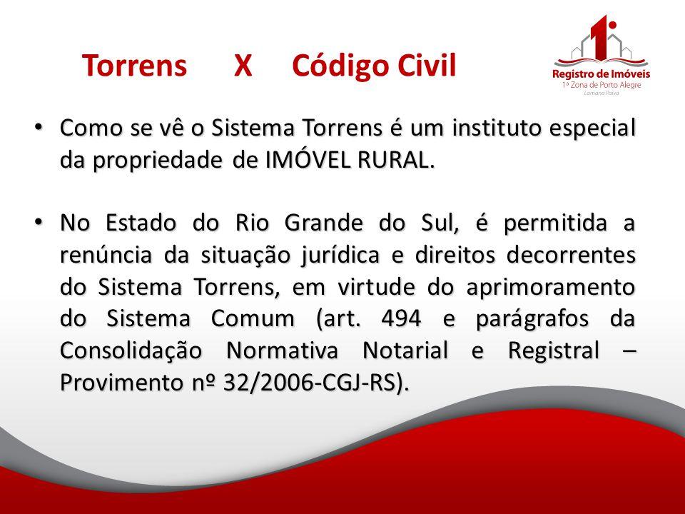 Torrens X Código Civil Como se vê o Sistema Torrens é um instituto especial da propriedade de IMÓVEL RURAL. Como se vê o Sistema Torrens é um institut