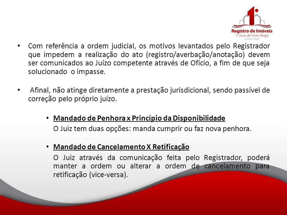 Com referência a ordem judicial, os motivos levantados pelo Registrador que impedem a realização do ato (registro/averbação/anotação) devem ser comuni