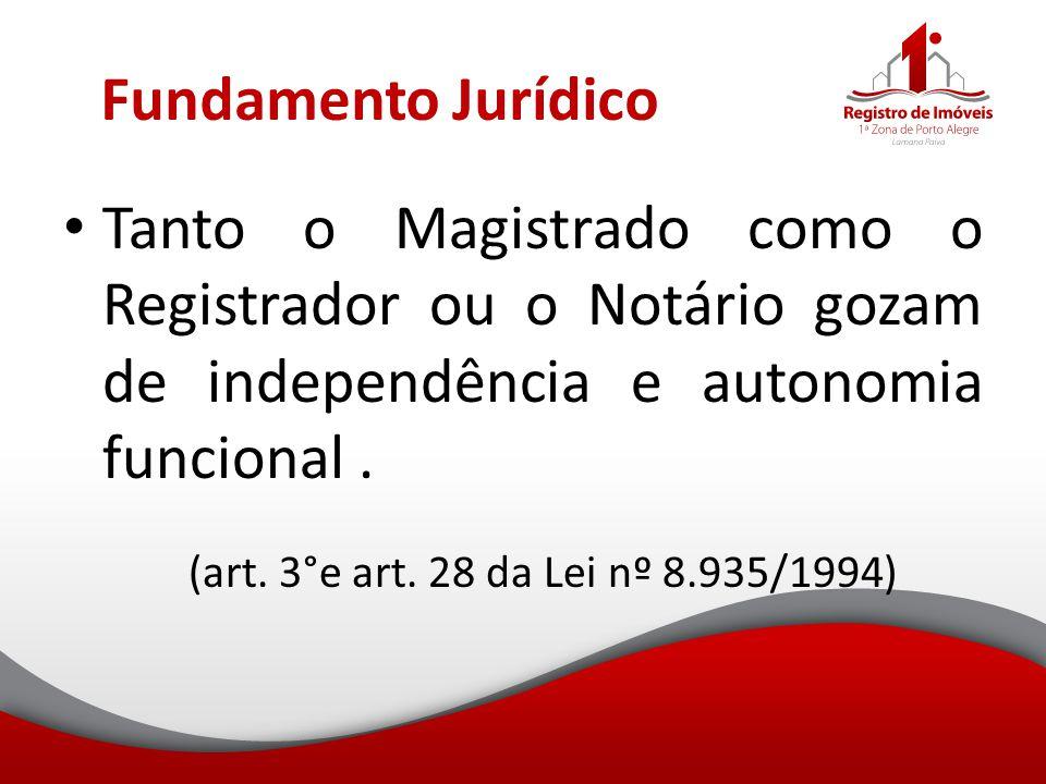 Fundamento Jurídico Tanto o Magistrado como o Registrador ou o Notário gozam de independência e autonomia funcional. (art. 3°e art. 28 da Lei nº 8.935