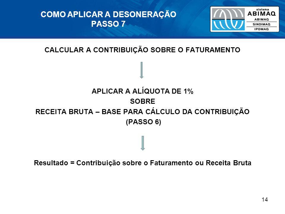 COMO APLICAR A DESONERAÇÃO PASSO 7 CALCULAR A CONTRIBUIÇÃO SOBRE O FATURAMENTO APLICAR A ALÍQUOTA DE 1% SOBRE RECEITA BRUTA – BASE PARA CÁLCULO DA CONTRIBUIÇÃO (PASSO 6) Resultado = Contribuição sobre o Faturamento ou Receita Bruta 14