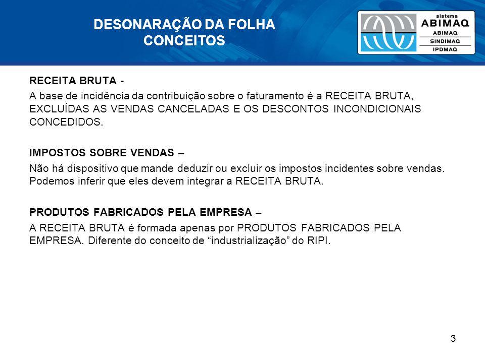 DESONARAÇÃO DA FOLHA CONCEITOS RECEITA BRUTA - A base de incidência da contribuição sobre o faturamento é a RECEITA BRUTA, EXCLUÍDAS AS VENDAS CANCELA