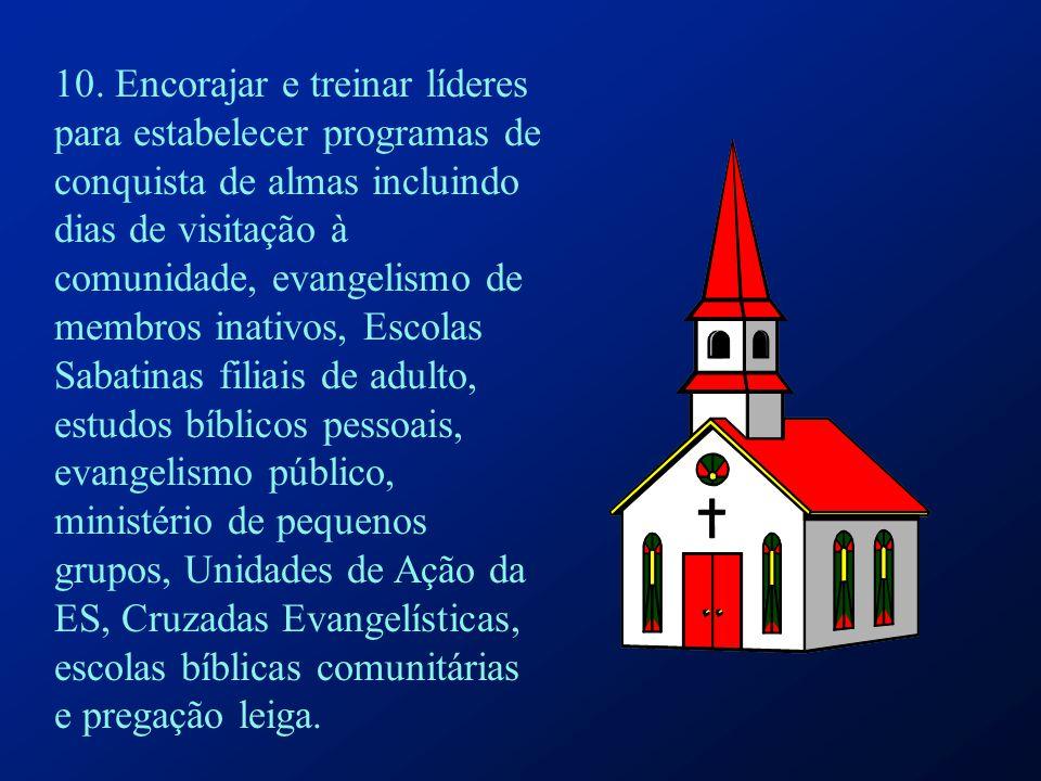 10. Encorajar e treinar líderes para estabelecer programas de conquista de almas incluindo dias de visitação à comunidade, evangelismo de membros inat