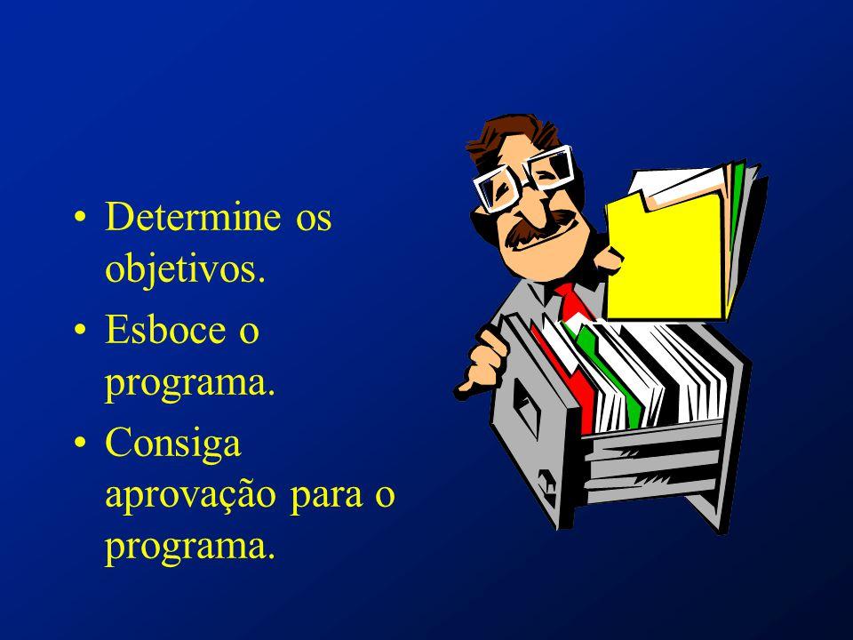 Determine os objetivos. Esboce o programa. Consiga aprovação para o programa.