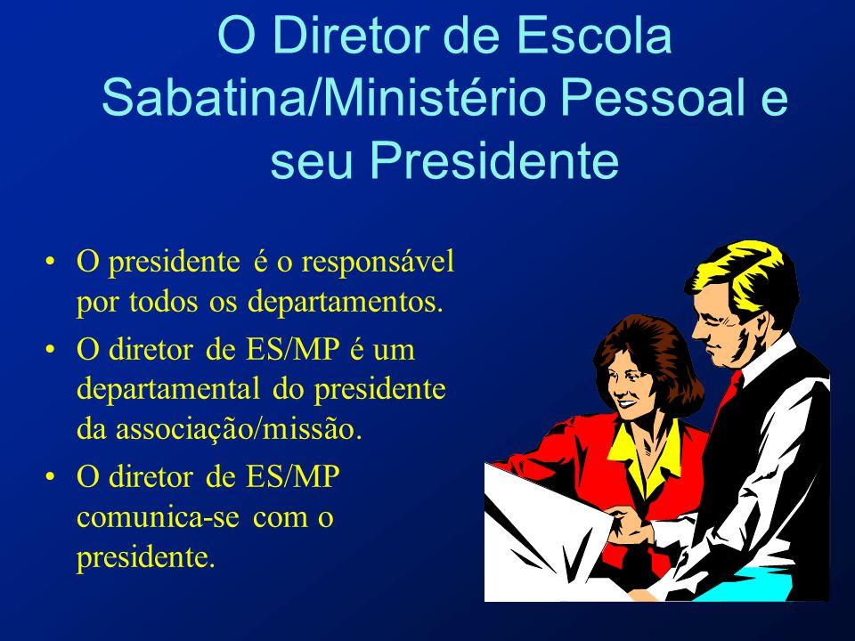 O Diretor de Escola Sabatina/Ministério Pessoal e seu Presidente O presidente é o responsável por todos os departamentos. O diretor de ES/MP é um depa