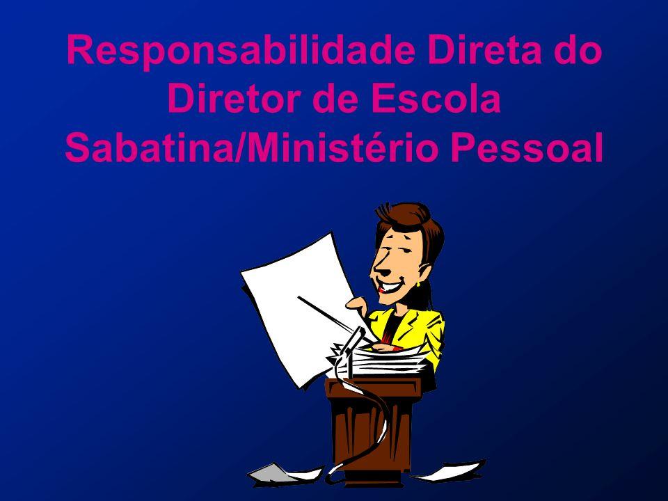 D ESCRIÇÃO DO T RABALHO As funções do diretor de Escola Sabatina/Ministério Pessoal da associação/missão local são...