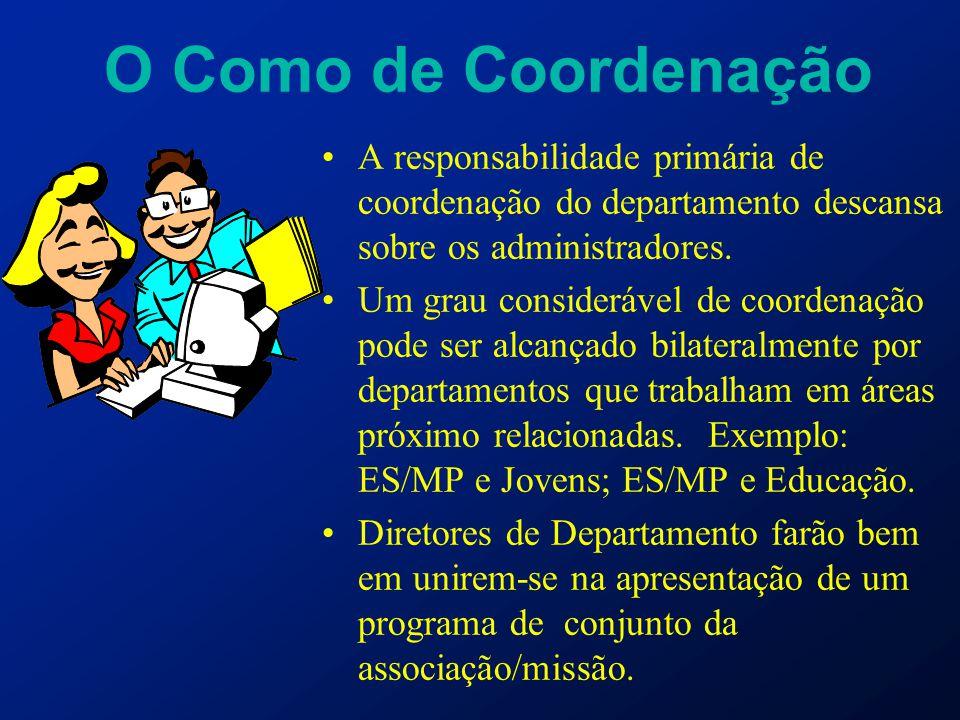 O Como de Coordenação A responsabilidade primária de coordenação do departamento descansa sobre os administradores. Um grau considerável de coordenaçã