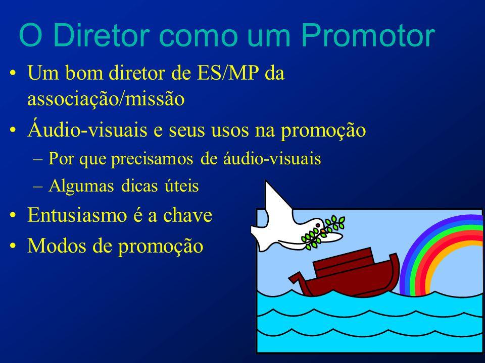 O Diretor como um Promotor Um bom diretor de ES/MP da associação/missão Áudio-visuais e seus usos na promoção –Por que precisamos de áudio-visuais –Al