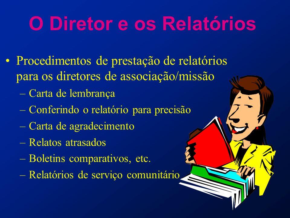 O Diretor e os Relatórios Procedimentos de prestação de relatórios para os diretores de associação/missão –Carta de lembrança –Conferindo o relatório
