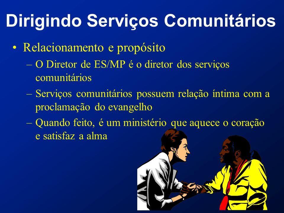 Dirigindo Serviços Comunitários Relacionamento e propósito –O Diretor de ES/MP é o diretor dos serviços comunitários –Serviços comunitários possuem re