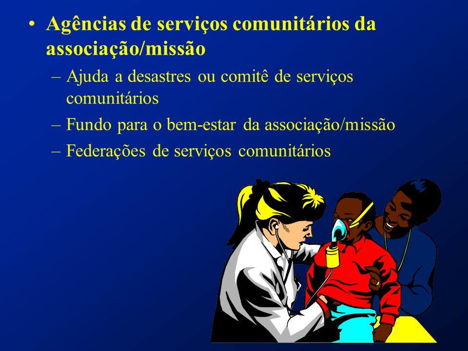 Agências de serviços comunitários da associação/missão –Ajuda a desastres ou comitê de serviços comunitários –Fundo para o bem-estar da associação/mis