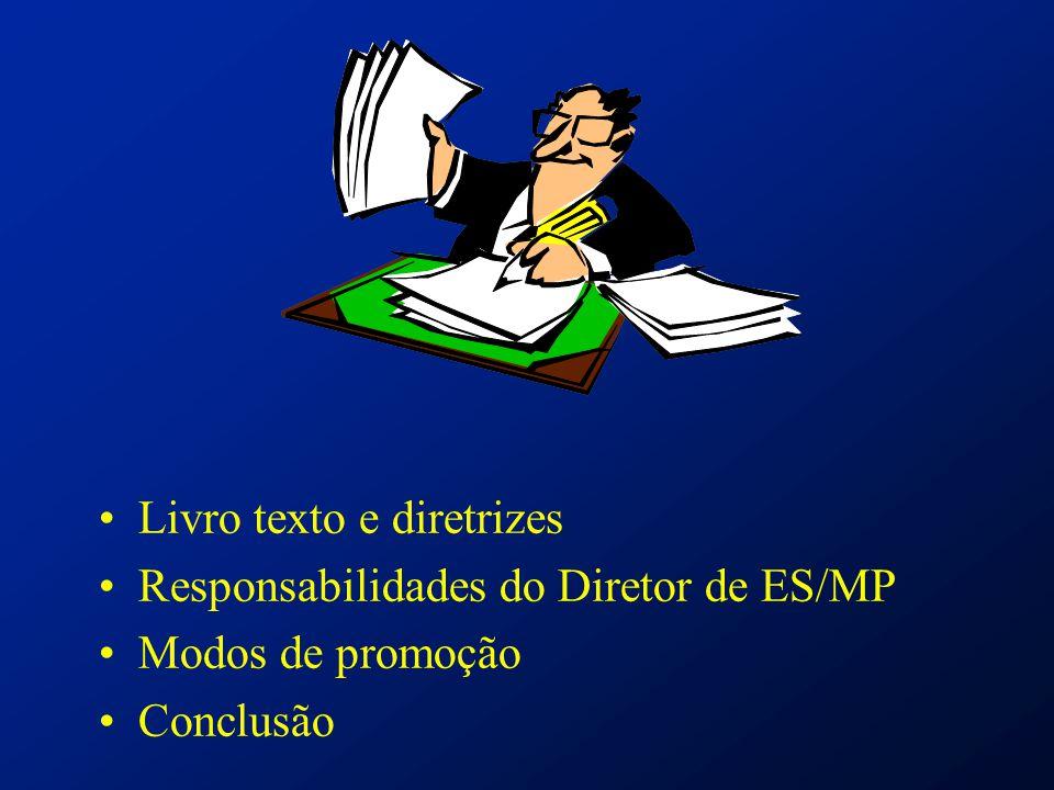 Livro texto e diretrizes Responsabilidades do Diretor de ES/MP Modos de promoção Conclusão