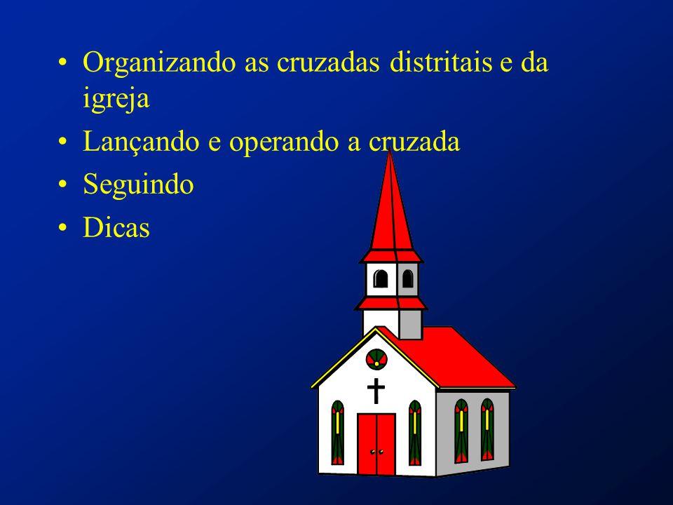 Organizando as cruzadas distritais e da igreja Lançando e operando a cruzada Seguindo Dicas