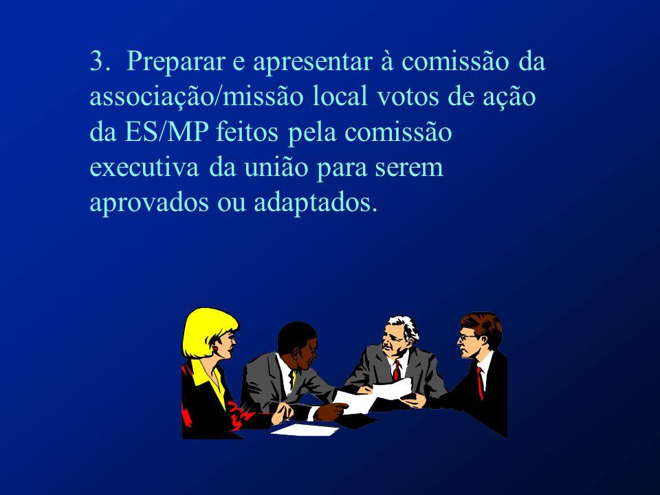 3. Preparar e apresentar à comissão da associação/missão local votos de ação da ES/MP feitos pela comissão executiva da união para serem aprovados ou