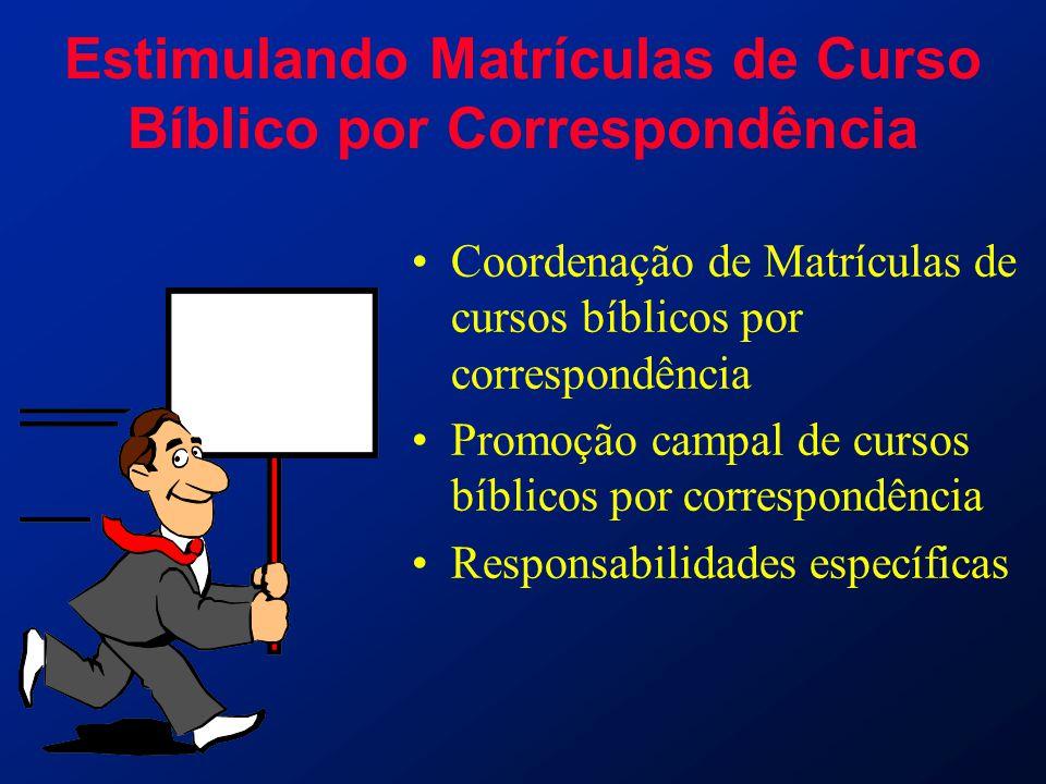 Estimulando Matrículas de Curso Bíblico por Correspondência Coordenação de Matrículas de cursos bíblicos por correspondência Promoção campal de cursos