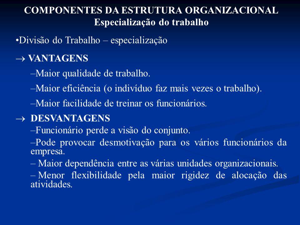 COMPONENTES DA ESTRUTURA ORGANIZACIONAL Especialização do trabalho Divisão do Trabalho – especialização  VANTAGENS –Maior qualidade de trabalho. –Mai