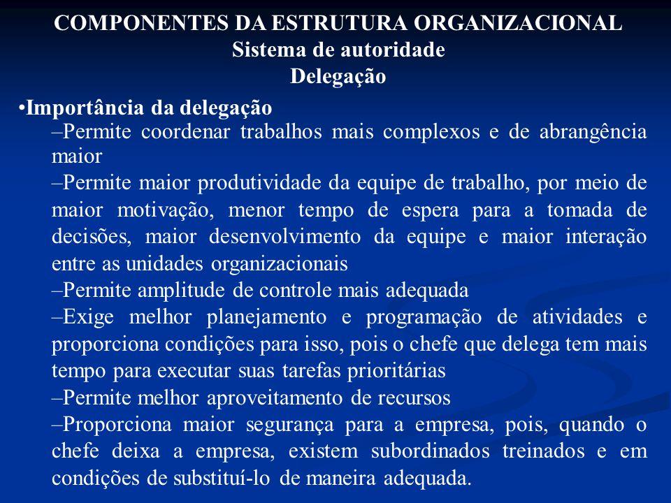 Importância da delegação –Permite coordenar trabalhos mais complexos e de abrangência maior –Permite maior produtividade da equipe de trabalho, por me