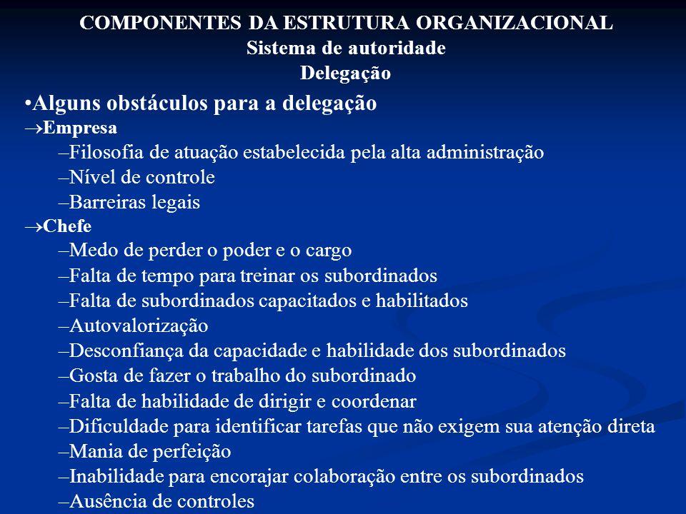 COMPONENTES DA ESTRUTURA ORGANIZACIONAL Sistema de autoridade Delegação Alguns obstáculos para a delegação  Empresa –Filosofia de atuação estabelecid