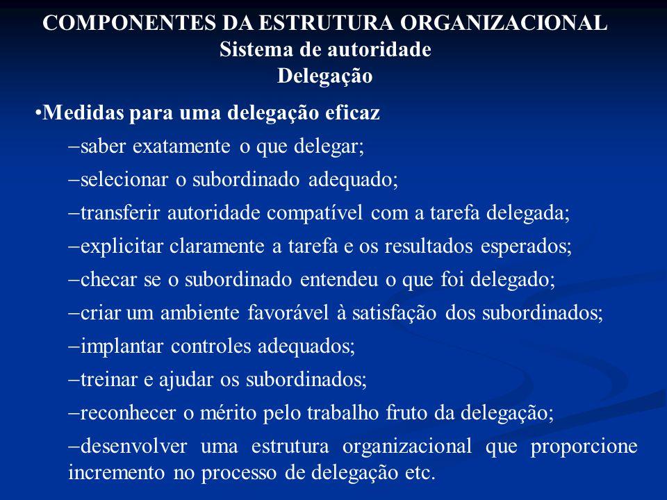 Medidas para uma delegação eficaz  saber exatamente o que delegar;  selecionar o subordinado adequado;  transferir autoridade compatível com a tare