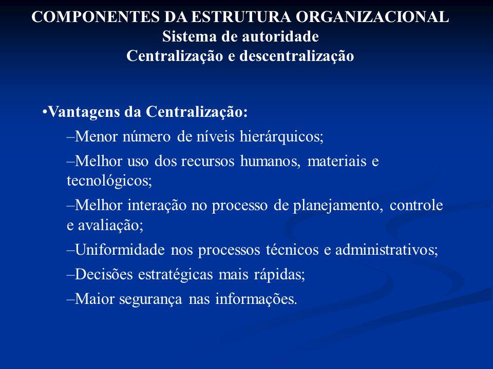 COMPONENTES DA ESTRUTURA ORGANIZACIONAL Sistema de autoridade Centralização e descentralização Vantagens da Centralização: –Menor número de níveis hie
