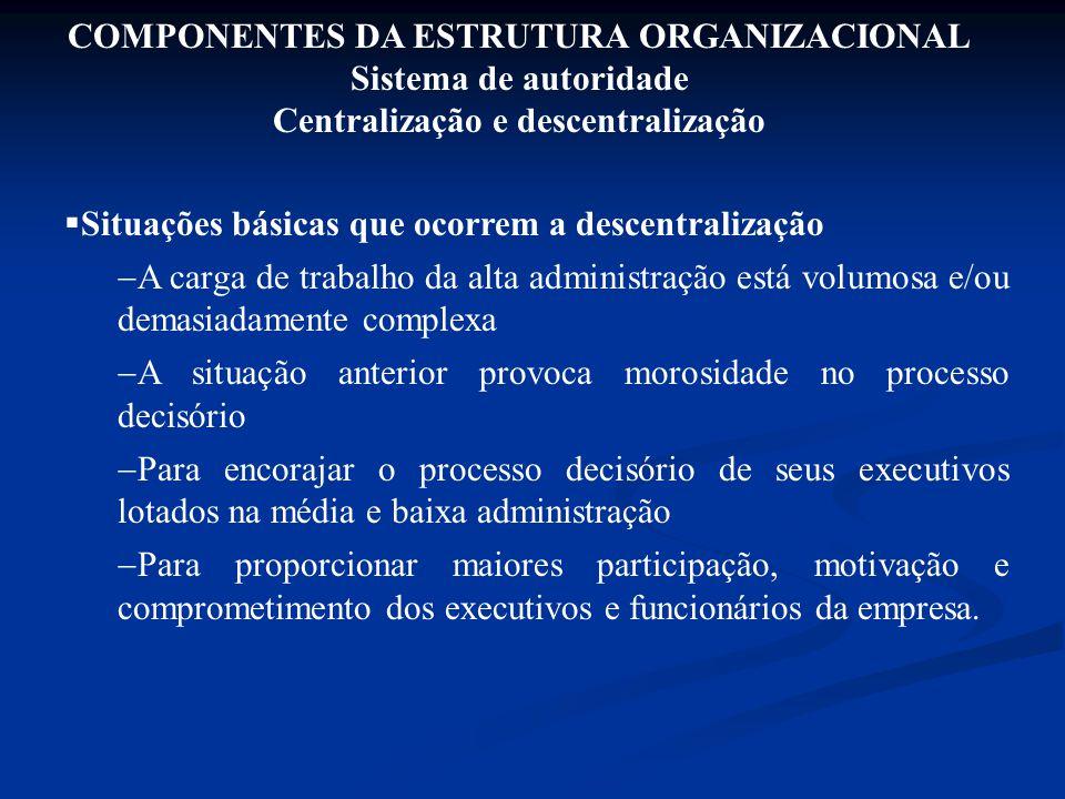 COMPONENTES DA ESTRUTURA ORGANIZACIONAL Sistema de autoridade Centralização e descentralização  Situações básicas que ocorrem a descentralização  A