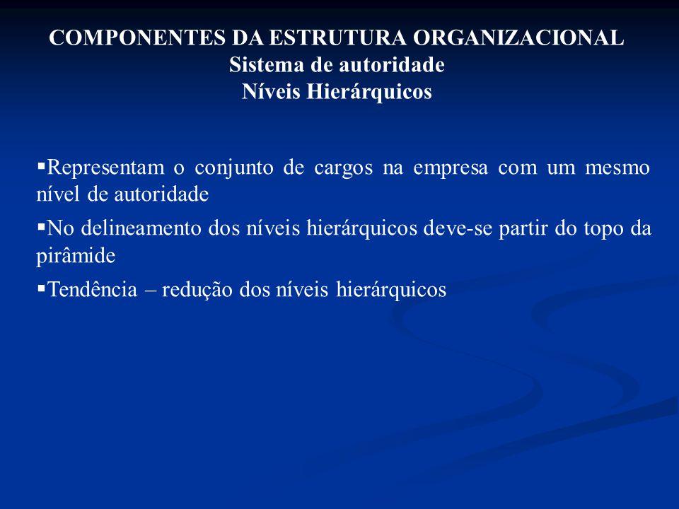 COMPONENTES DA ESTRUTURA ORGANIZACIONAL Sistema de autoridade Níveis Hierárquicos  Representam o conjunto de cargos na empresa com um mesmo nível de
