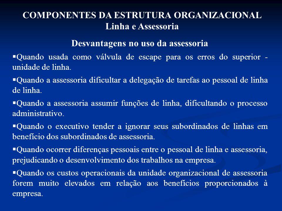 COMPONENTES DA ESTRUTURA ORGANIZACIONAL Linha e Assessoria Desvantagens no uso da assessoria  Quando usada como válvula de escape para os erros do su