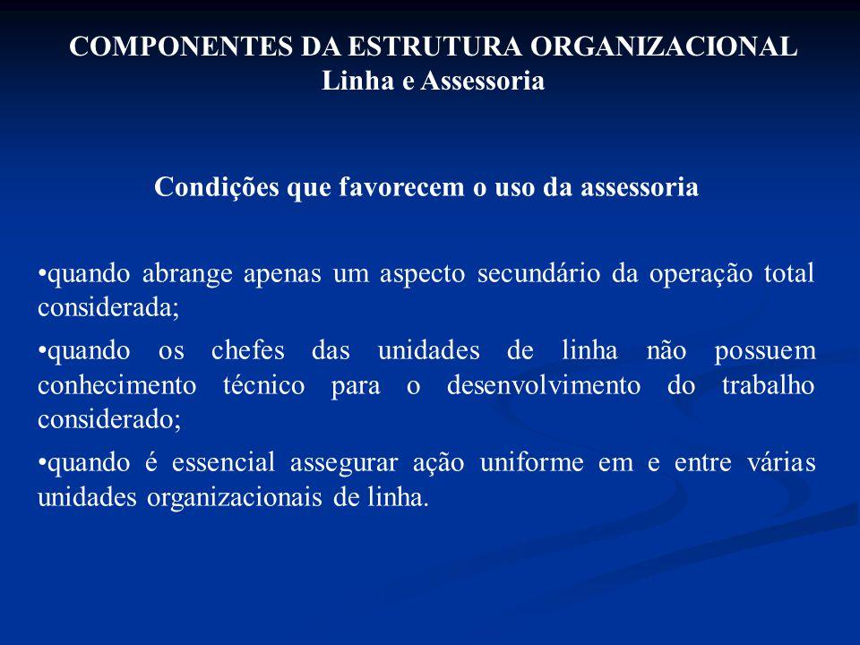 COMPONENTES DA ESTRUTURA ORGANIZACIONAL Linha e Assessoria Condições que favorecem o uso da assessoria quando abrange apenas um aspecto secundário da