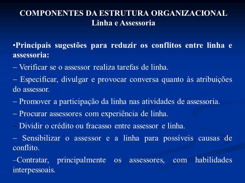 Principais sugestões para reduzir os conflitos entre linha e assessoria:  Verificar se o assessor realiza tarefas de linha.  Especificar, divulgar e