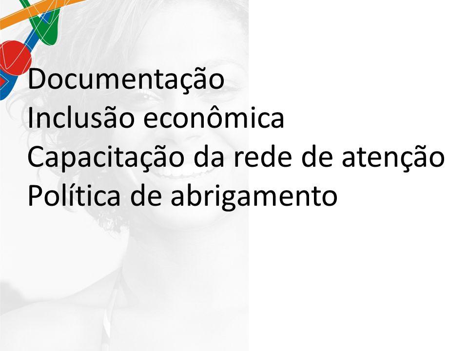 Documentação Inclusão econômica Capacitação da rede de atenção Política de abrigamento