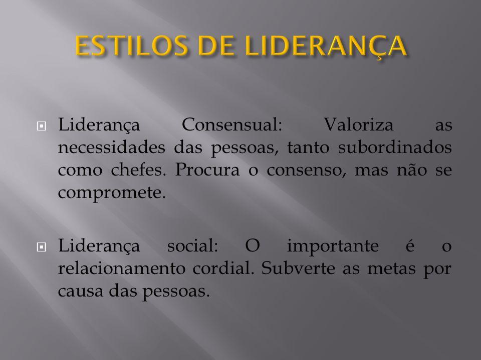  Liderança Consensual: Valoriza as necessidades das pessoas, tanto subordinados como chefes.