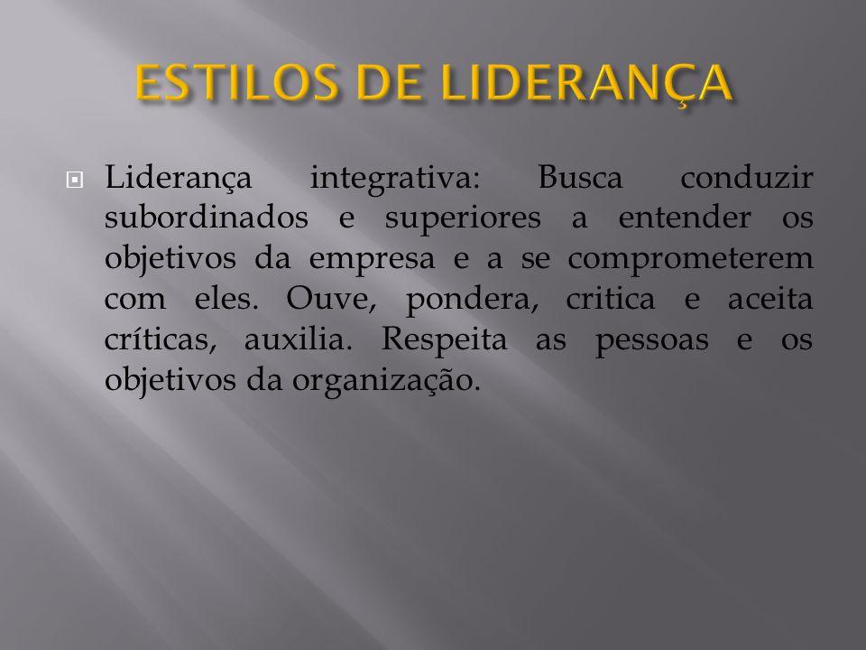  Liderança integrativa: Busca conduzir subordinados e superiores a entender os objetivos da empresa e a se comprometerem com eles.