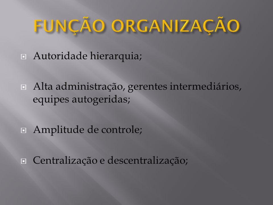  Autoridade hierarquia;  Alta administração, gerentes intermediários, equipes autogeridas;  Amplitude de controle;  Centralização e descentralização;