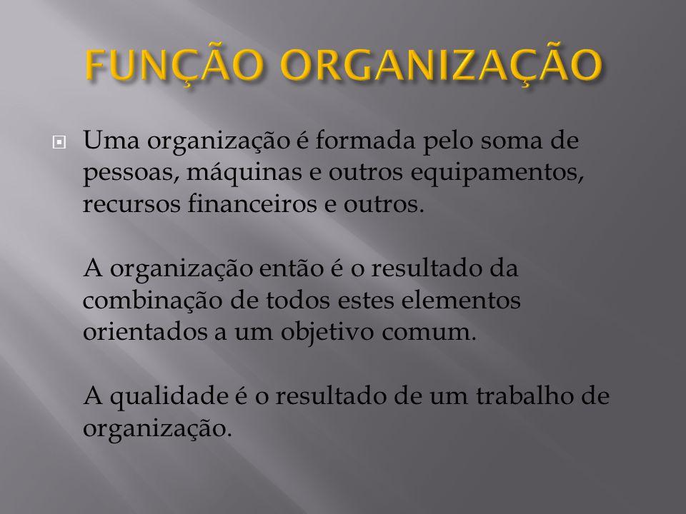  Uma organização é formada pelo soma de pessoas, máquinas e outros equipamentos, recursos financeiros e outros.