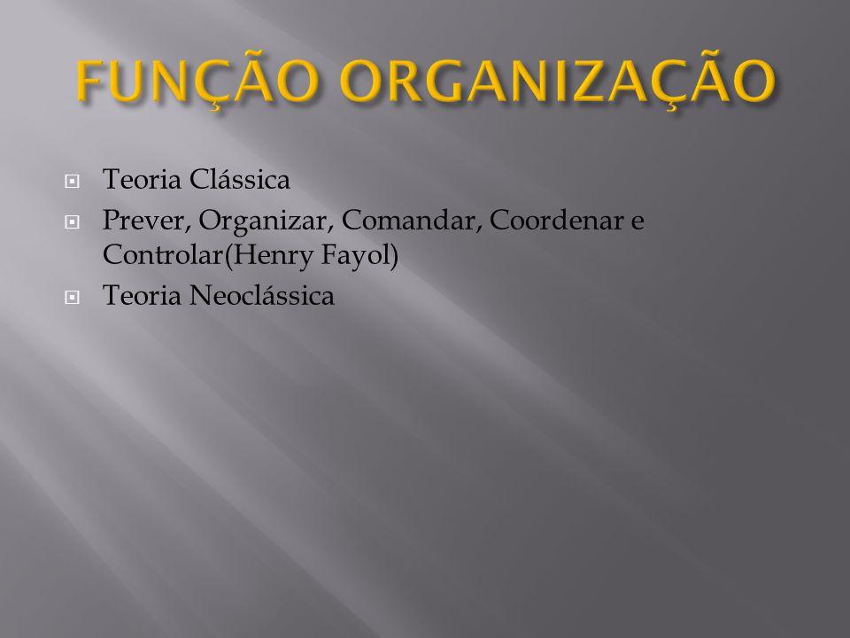  Teoria Clássica  Prever, Organizar, Comandar, Coordenar e Controlar(Henry Fayol)  Teoria Neoclássica