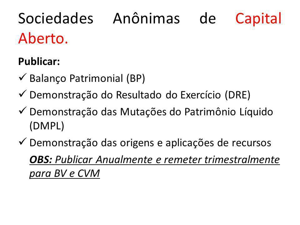 Sociedades Anônimas de Capital Aberto. Publicar: Balanço Patrimonial (BP) Demonstração do Resultado do Exercício (DRE) Demonstração das Mutações do Pa