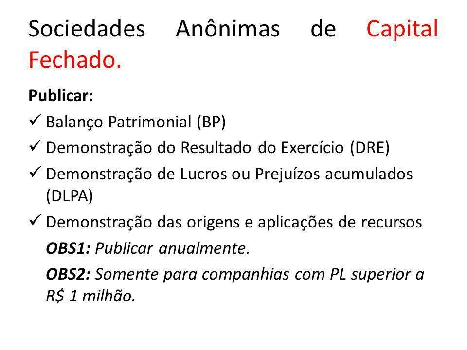 Sociedades Anônimas de Capital Fechado. Publicar: Balanço Patrimonial (BP) Demonstração do Resultado do Exercício (DRE) Demonstração de Lucros ou Prej
